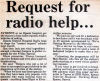 Requests for radio help...